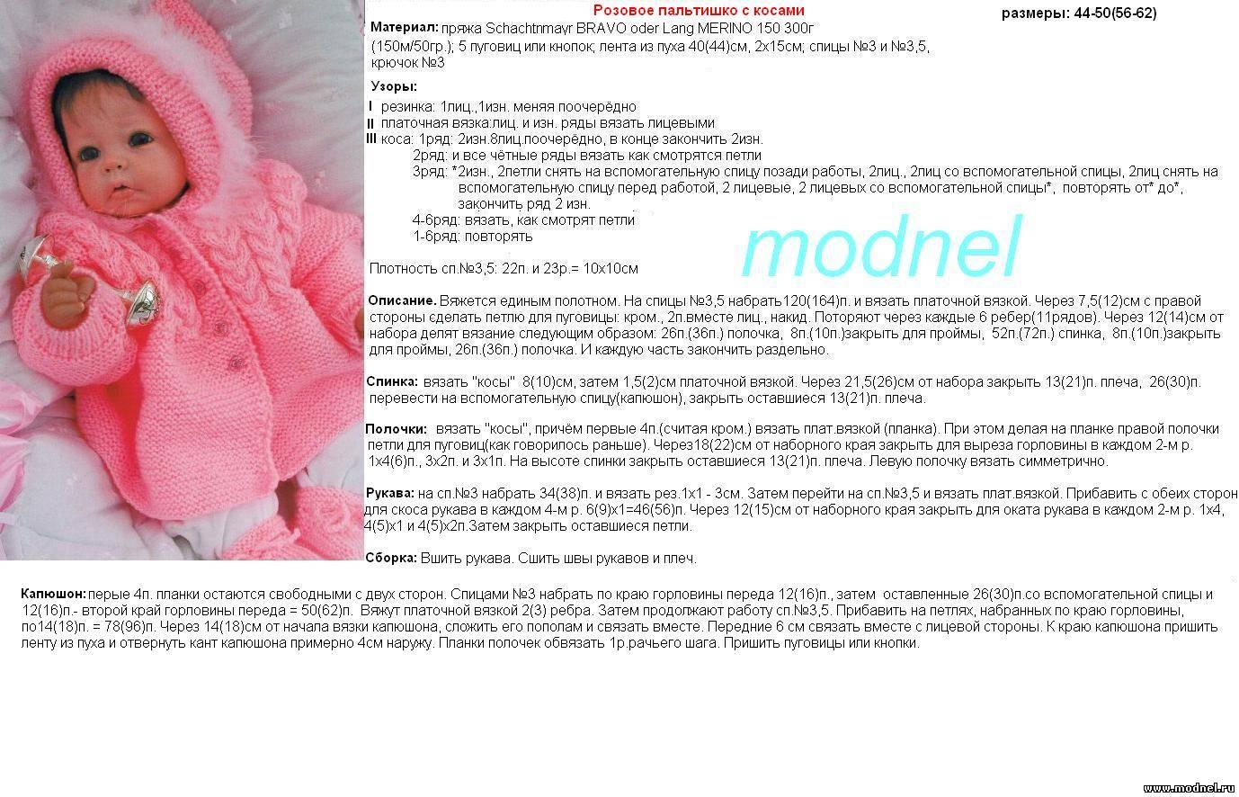 Комбинезон для новорожденной девочки спицами описание и схемы